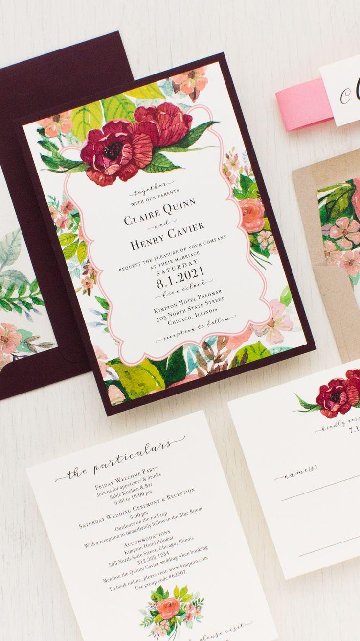 wedding celebration invitation%0A Mauve Floral Wedding Invitations