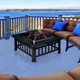Luxo Branton Multi-function BBQ 32 Inch  Outdoor Garden Fire Pit Table Steel Grill Burner