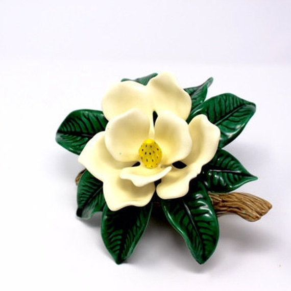 Vintage Ceramic Magnolia Flower Figurine Southern Magnolia White Flowers Shabby Country Decor Gift For Her Magnolia Flower Vintage Ceramic Decor Gifts