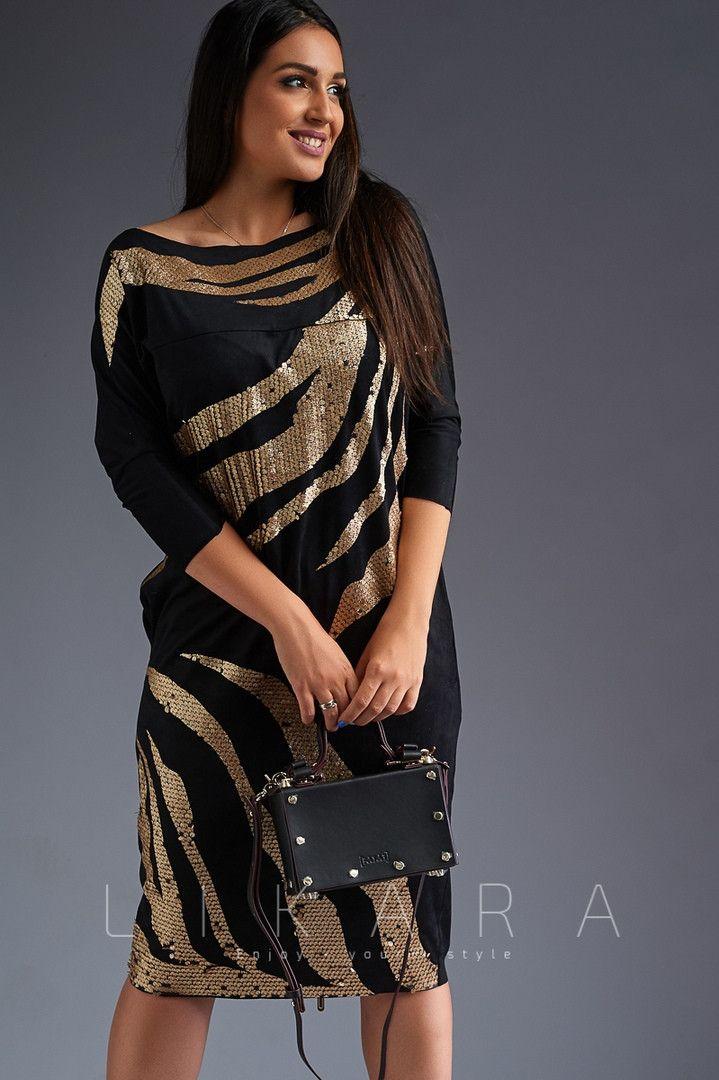 a211cbba213f5de Продажа Вечернее платье большого размера Likara / замш иск, пайетка с  напылением / Украина 32-722 746050326 оптом и в розницу от п…