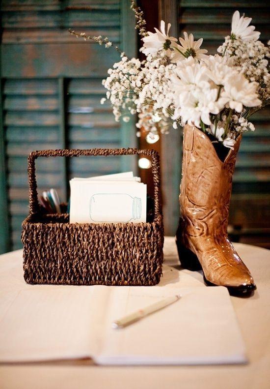 Cowboy Wedding Ideas. i don't think id use the boot but still a cute idea