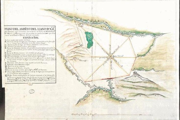 El mapa muestra el pueblo de Las Vacas, La Ermita y Chinautla (finales del siglo XVIII)