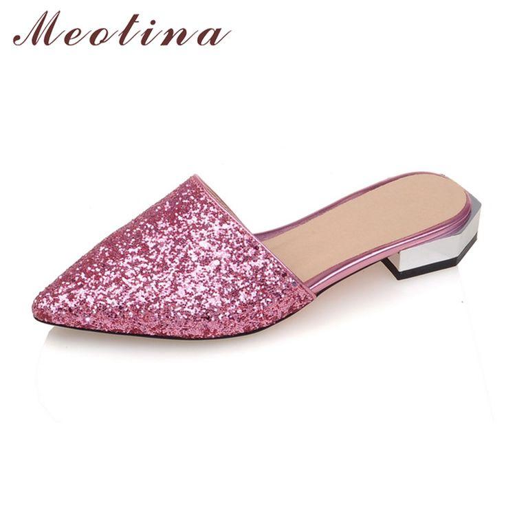 Grande taille d'été chaussures pour femmes, le métal C, l'un de décoration, sandales, pantoufles, chaussures femmes talon,blanc 41