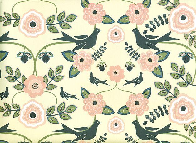 Geschenkpapier - Blue Birds - Geschenkpapier aus England - ein Designerstück von fabriana bei DaWanda