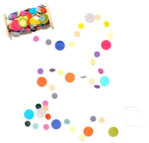 Rainbow Confetti Garland by Kristina Marie - eclectic - desk accessories - Etsy (can use for gift wrap embellishment too!)