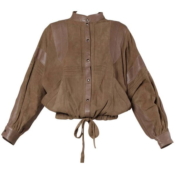 Pre-owned Valentino Vintage Brown Buttery Leather Bomber Jacket (10.347.755 IDR) ❤ liked on Polyvore
