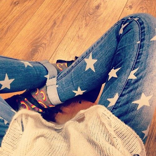 Star patterned jeans