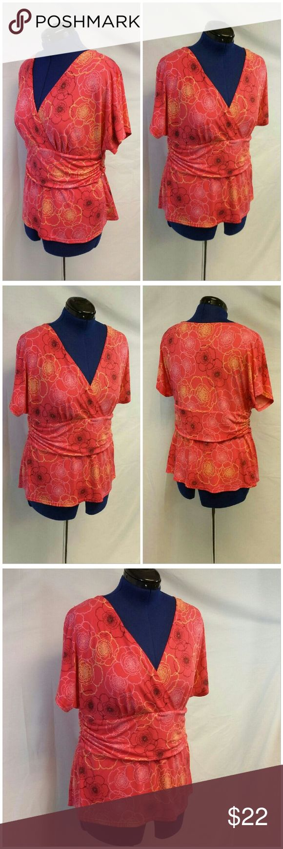 """Deep V-neck Wide Drape Waist Floral Top size 1X-2X Deep V-neck, Wide Drape Waist, Floral Top,  size 1X-2X See Measurements tag cut off, 4 decorative buttons on ruching at left side of waist, short bathing sleeves, very stretchy, machine washable,  polyester nylon spandex blend, approximate measurements :  27"""" length shoulder to hem, 20"""" bust laying flat,  5 1/2"""" sleeves, 19""""+ waist laying flat Tops"""