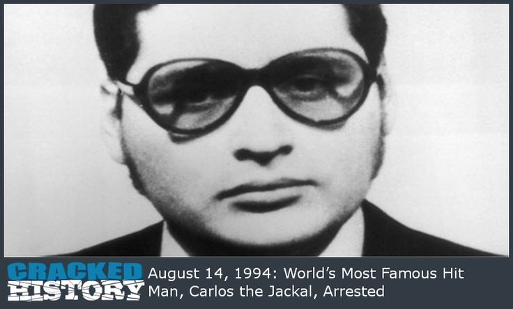 August 14, 1994: World's Most Famous Hit Man, Carlos the Jackal, Arrested - http://www.crackedhistory.com/august-14-1994-worlds-famous-hit-man-carlos-jackal-arrested/