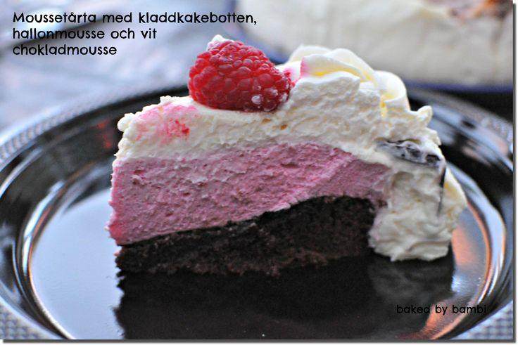 Moussetårta med kladdkakebotten, hallonmousse och vit chokladmousse | Bambi