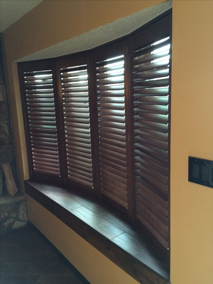 Wood Shutters Are Stylish And Durable In This Bow Window  In 2019