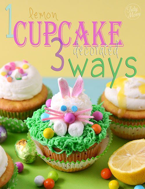 Lemon filled cupcakes decorated with marshmallow bunnies for #Easter via @TidyMom