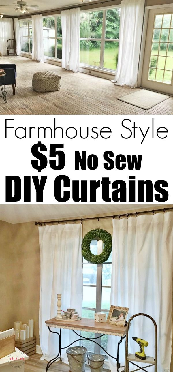 Farmhouse living room DIY curtains now sew just $5 to make each of the farmhouse curtains! Cheap farmhouse decor.