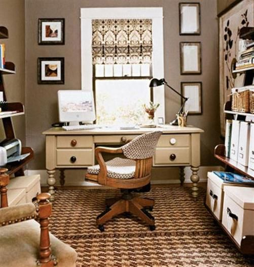 Home office design with vintage flair and great storage on the walls to each side of the desk