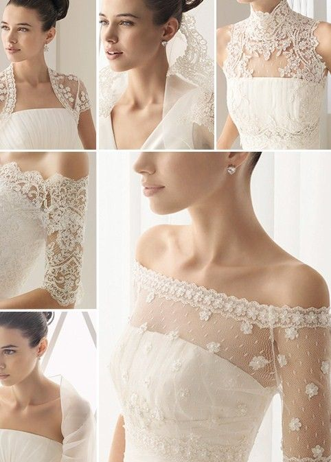 "Lace ""pullovers"" for all of the strapless wedding dresses being worn these days.  So pretty..."