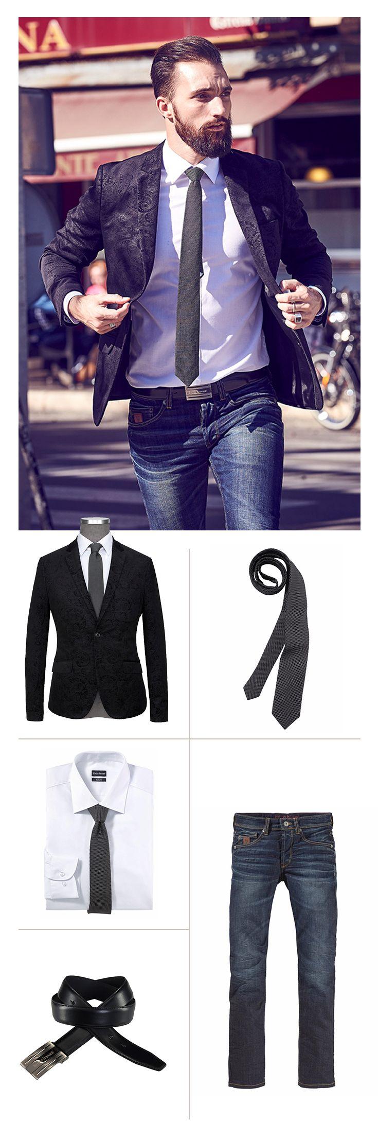 Ganz klar: Die Fashion-Profis von Bruno Banani wissen genau, wie man im Business einen smarten und souveränen Eindruck hinterlässt. Highlight dieses Looks ist das stylische Sakko mit aufwendig gearbeitetem Muster – dazu passt eine dunkle Slim-fit-Jeans.