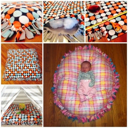 You don't have to be able to sew to make this wonderful floor pillow. Here is how. To make this pillow, you will need to fleece fabric.  Lay them on to