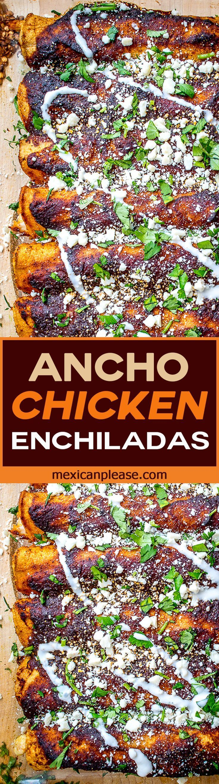 Ancho chili peppers combine with roasted tomatoes to create incredibly rich flavor for this chicken enchilada dish. It's easy too. No more enchilada sauce from the can OK? http://mexicanplease.com