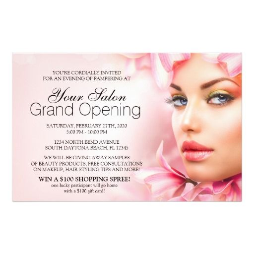 Salon and spa grand opening party flyer spa and salon for A b beauty salon