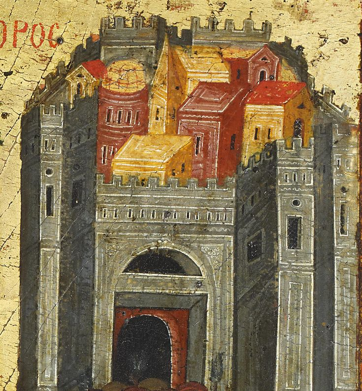 Detailed view: E042. Entry into Jerusalem- exhibited at the Temple Gallery, specialists in Russian icons