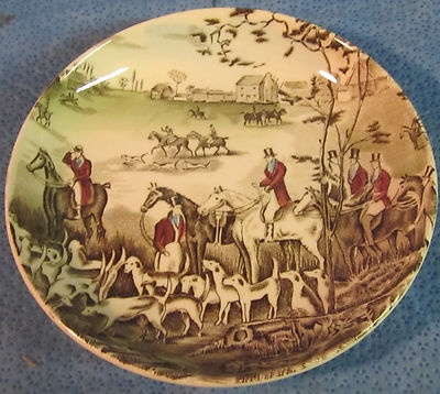 Fox Hunt Hunting Coaster or Butter Pat Plate Johnson Brothers Tally HO...