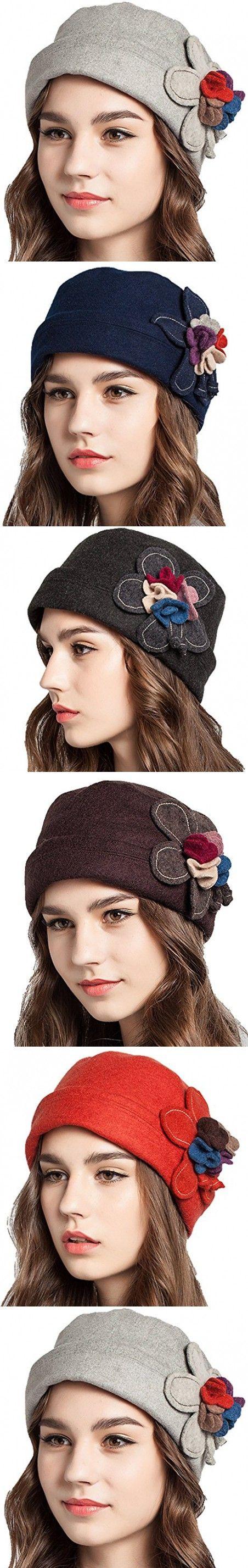 Supergirl Women hat Wool Curling Brim Hat Fashion Flower Beret Homburg Hat Grey