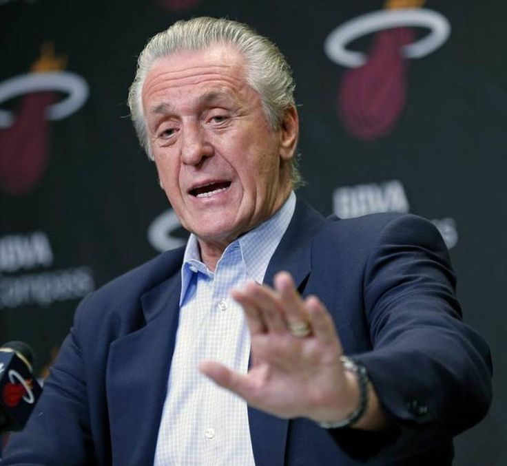 Heat president Pat Riley meet with the media at AmericanAirlines Arena in Miami on June 19, 2014. after the team's loss in the NBA Finals. Another spot on column by Dan Le Batard
