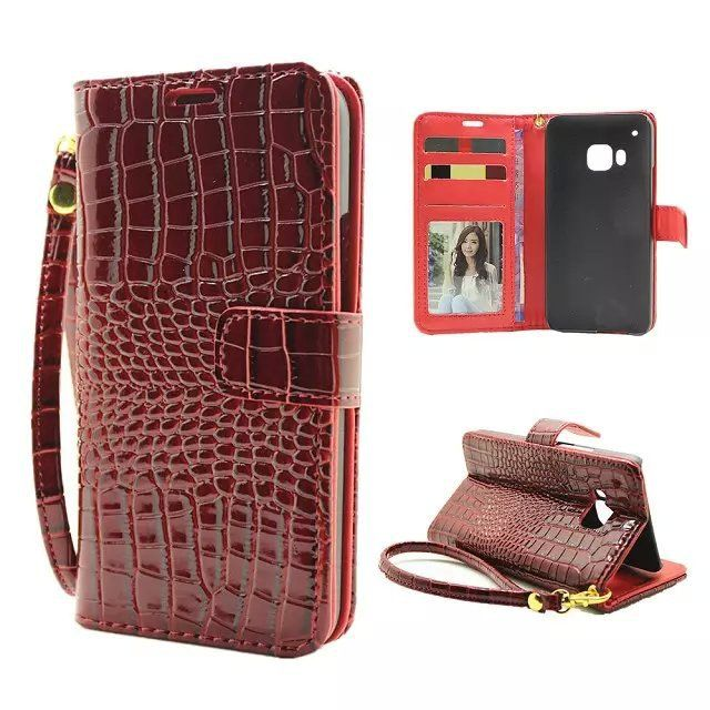 Luxury Hand Strap Wallet Case For HTC One M9 Flip Cover Crocodile PU Leather Cellphone Bags Cases For HTC M9