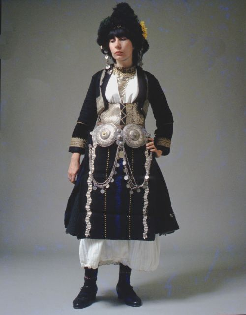 The bridal costume of Alexandria, also known as Ghidás, Imathia, with its characteristic headdress. The region was formally known as Roumlouki (land of the Greeks).