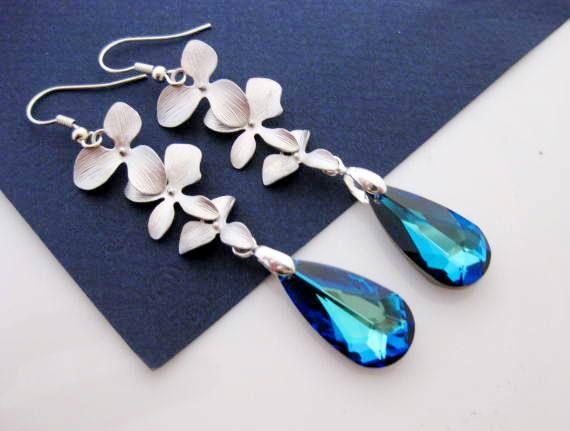 Blue Earrings BERMUDA Blue Silver ORCHIDs Peacock Wedding Bridal - Wedding Jewelry | Bridesmaid