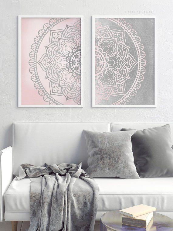 Pink Gray Mandala Wall Art Set Of 2 Prints Girl Bedroom Decor