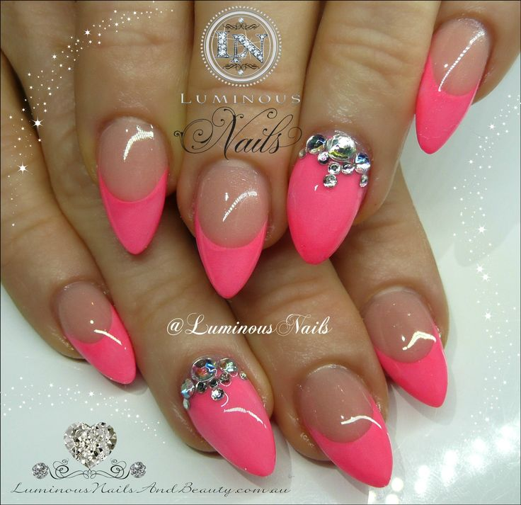 hot pink nails with diamonds - photo #44