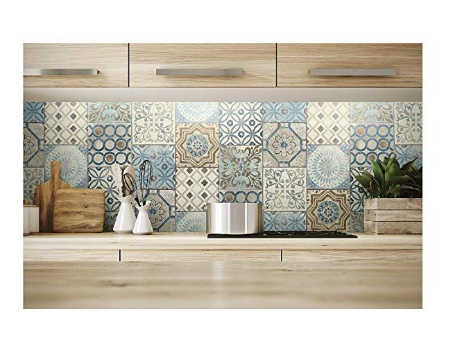 Nextwall Moroccan Style Peel And Stick Mosaic Tile Wallpaper Blue Copper Grey Moroccan Tile Tile Wallpaper Kitchen Wallpaper