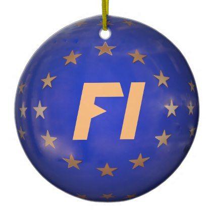 #Finland E.U. Flag Christmas Ornament - #Xmas #ChristmasEve Christmas Eve #Christmas #merry #xmas #family #kids #gifts #holidays #Santa