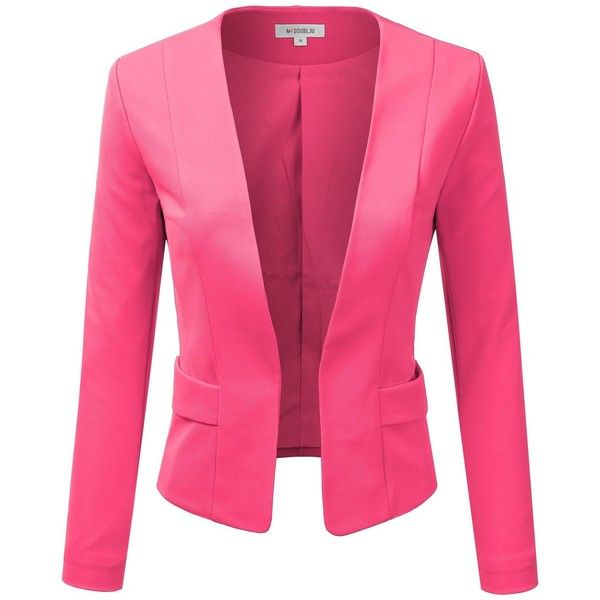Doublju Women's Plus Size Classic Collarless Open Front Blazer Jacket ($37) ❤ liked on Polyvore featuring outerwear, jackets, blazers, plus size blazers, pink blazer, pink blazer jacket, plus size jackets and collarless jackets