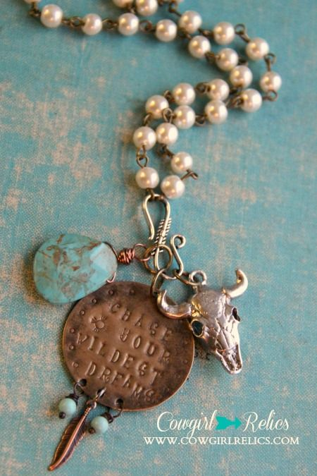 Chase Your Wildest Dreams Rustic Western Charm Necklace-Pearl/Turquoise
