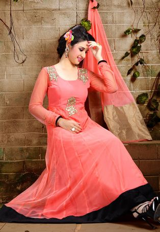 Peach Net Readymade Anarkali Churidar Kameez