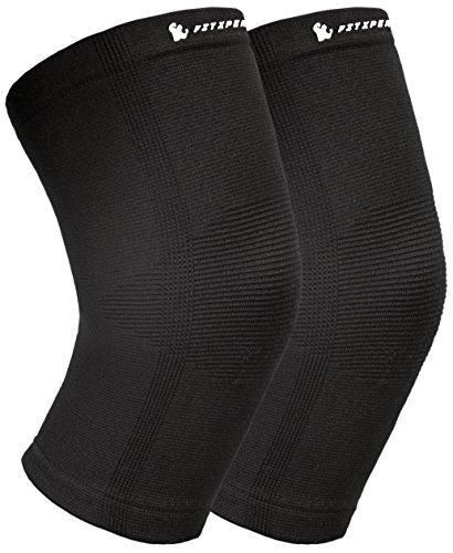 Knee Compression Sleeves (1 pair) By FitXpert - Crossfit Patella Protection Knee Support and Pain Relief in Weight Lifting Knee Sleeves for Both Men & Women