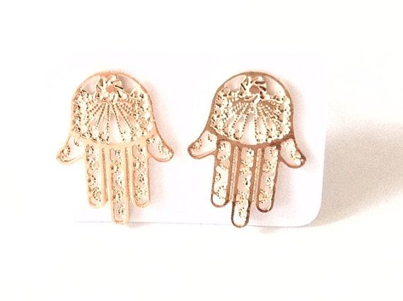 Gold Hamsa Earrings Lucky Gold plated hamsa stud earrings Gold post Earrings Jewish jewelry Mano de Fatima mal de ojo Kabbalah jewelry