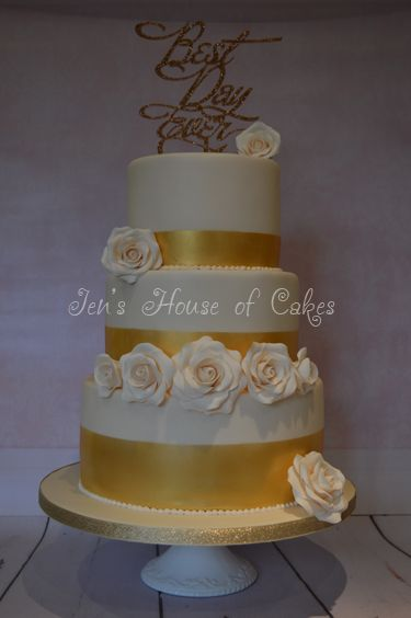 Gold Bands & Sugar Roses, Best Day Ever Wedding Cake
