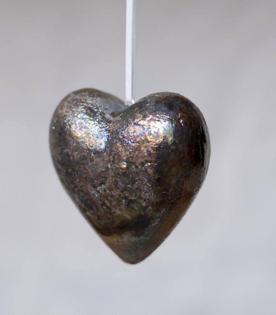 Ceramic heart  raku  multicolour copper crakle handmade