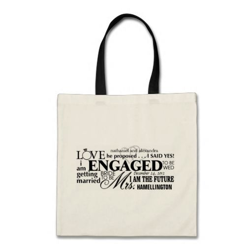Engaged Word Cloud Canvas Bags