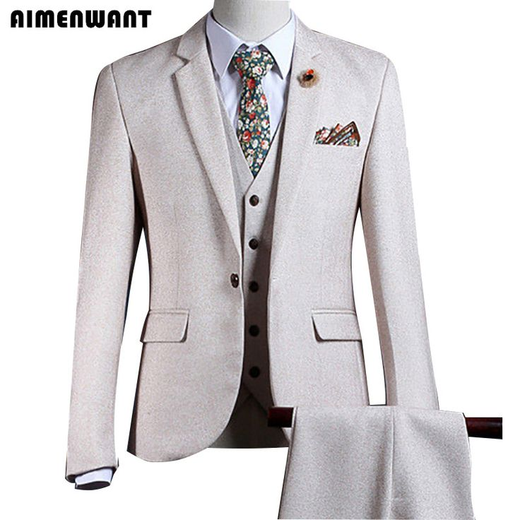 ==> [Free Shipping] Buy Best AIMENWANT Tailored Cream Blazer Europe Mens Beige Suit 3 Piece Top Quality Prom Suits For Men Cheap Father Pants Suit Sales Online with LOWEST Price | 32792278407