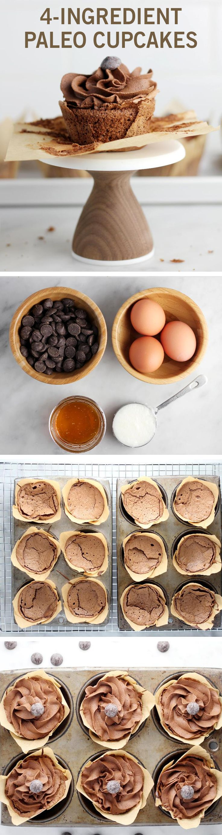 If your next party will feature guests with dietary restrictions, these cupcakes are a perfect treat. They are completely dairy-free and gluten-free, and they require just four ingredients (coconut oil, eggs, honey, and dairy-free chocolate). #paleo