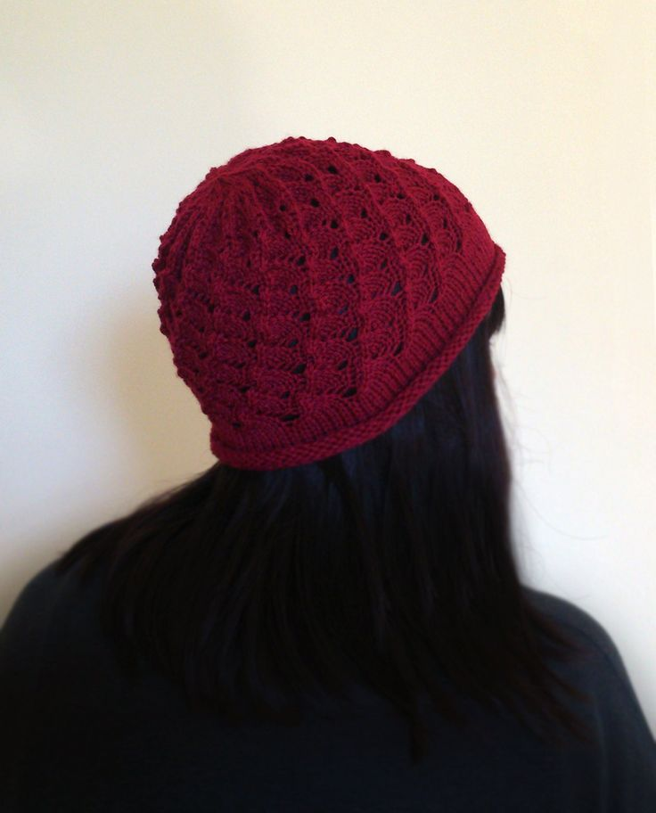 Hand Knit burgundy maroon deep dark ruby lace beanie hat by ManaKori on Etsy