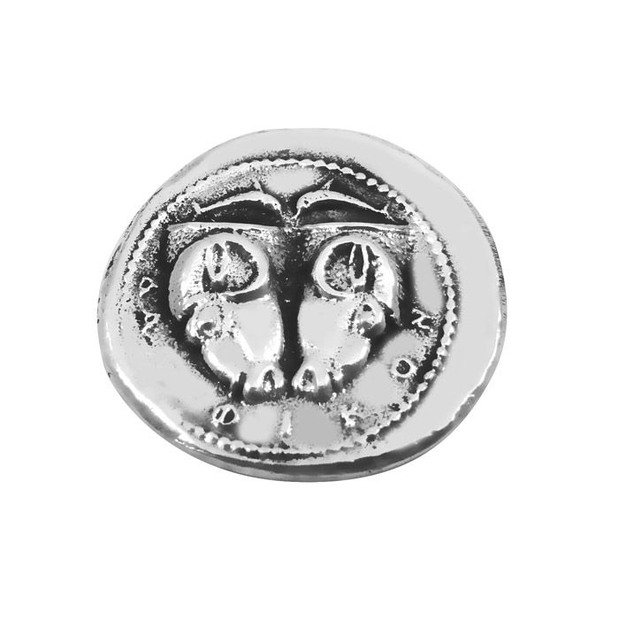 Handmade replica of the ancient silver tridrachm (three-drachma coin) of Delphi, which is among the most rare of all the Greek coins. It was minted around 480-475 B.C. and it features on the obverse type of the coin shows two rhyta  in the form of ram's heads and above them, two dolphins swimming toward each other.The coin is offered in an acrylic case for protection and better presentation and gift packaging. Diameter of the coin: 2,5 cm Dimensions of the case: 5 cm x 6 cm x 5 cm