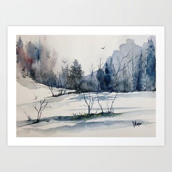 Original colorida impresión paisaje original por pinetreeart