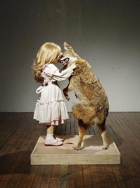 Sculpture; The girl who fell in love with a wolf.