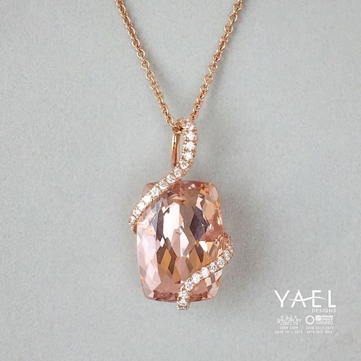 """""""Wearing Morganite, especially in gem form, evokes a sense of peace, joy and inner strength; worn for extended periods of time, it encourages a growth of confidence and power that comes from a constant awareness of the connection to Divine love. """"[Simmons, 270] #morganite #necklace #yaeldesigns"""