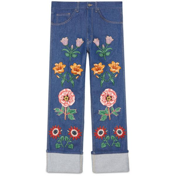 Gucci Jean With Flower Appliqués (10,990 CNY) ❤ liked on Polyvore featuring men's fashion, men's clothing, men's jeans, men, new denim, ready to wear, gucci mens jeans, mens blue jeans, mens leather jeans and mens wide leg jeans